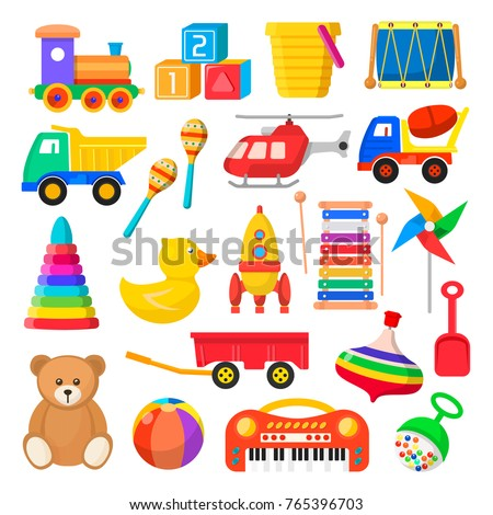Baby toy set. Cute object for small children to play with, wooden and plastic toys, stuffed animals, fun and activity. Vector flat style cartoon illustration isolated on white background stock photo