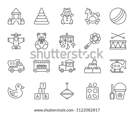Baby Toy thin line icons set. Outline sign kit of children play. Kids Game linear icon collection includes crib hanging mobile, duck, drum. Simple baby toy symbol isolated on white Vector Illustration
