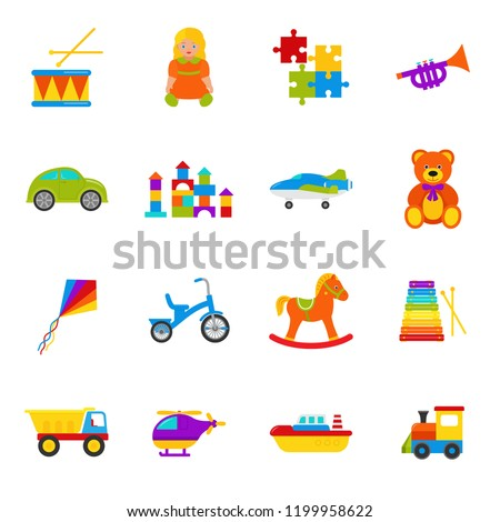 Baby toy. Vector. Set kids toys. Collection cute baby shower elements in flat design isolated on white background. Colorful cartoon illustration with drum, teddy bear, puzzle, car, horse and etc. game