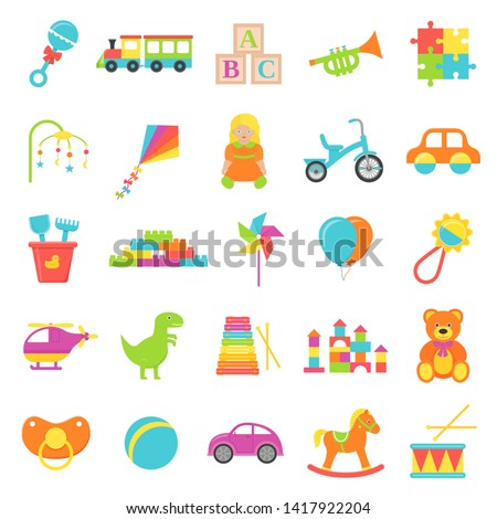 baby toy vector set kids toys