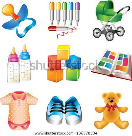 baby toys and things detailed icons vector set