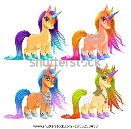 Baby unicorns for luck, protection and inspiration. Cartoon vector isolated characters.