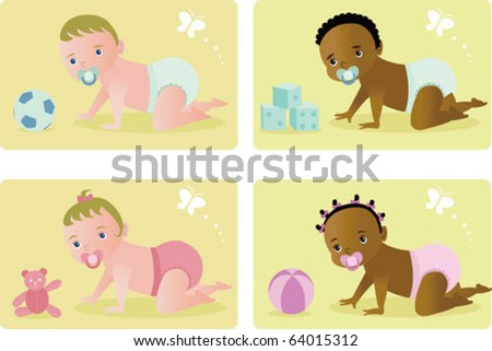 Baby  (Vectors) - 4 babies crawling and playing with toys on the floor