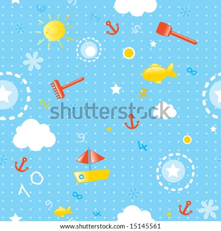 baby wallpaper- seamless pattern for summer season with marine ...