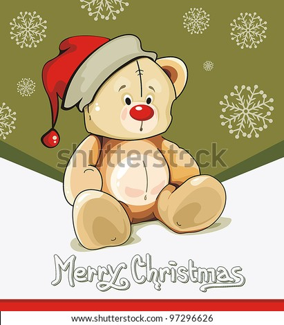 Baby winter background with Funny young Teddy bear. Merry Christmas and a Happy New-Year's greeting sweet postcard. Vector illustration.