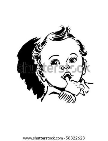 Baby With Finger In Mouth - Retro Clip Art Stock Vector ...