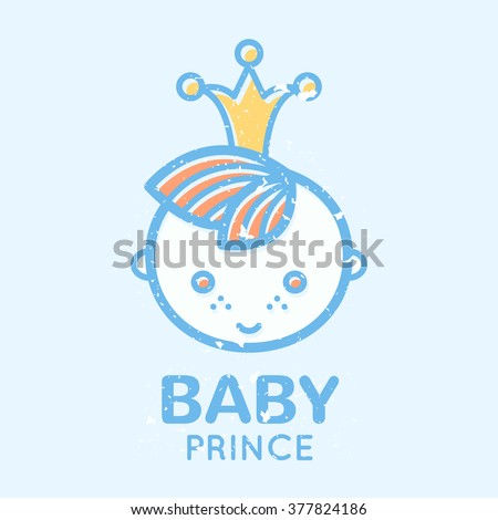 Babyish emblem with cute little boy (baby prince). Pastel color palette (blue, pale blue, yellow). Flat minimalistic image with grunge texture (texture is easy to remove)