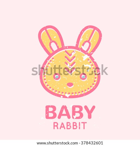 Babyish emblem with cute little bunny (baby rabbit). Pastel color palette (pink, pale pink, yellow). Flat minimalistic image with grunge texture (texture is easy to remove)