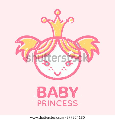 Babyish emblem with cute little girl (baby princess). Pastel color palette (pink, pale pink, yellow). Flat minimalistic image with grunge texture (texture is easy to remove)