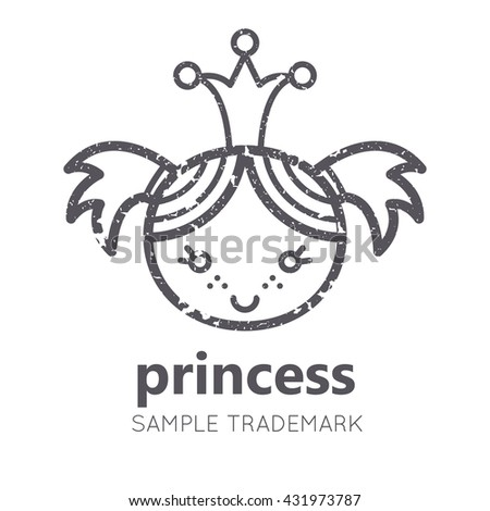 Babyish icon with little girl (baby princess) in flat linear style. Monochrome, isolated. Grunge texture
