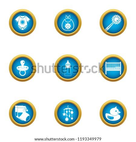 Babyish icons set. Flat set of 9 babyish vector icons for web isolated on white background