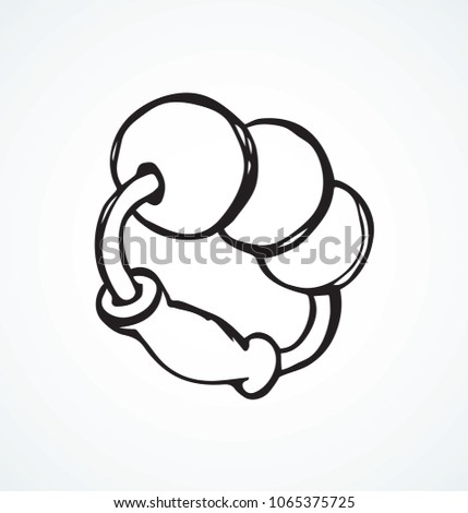 Babyish teething playful noisy clack on white backdrop. Freehand line black ink hand drawn joy noisemaker logo pictogram emblem sketchy in art retro scribble cartoon style pen on paper space for text