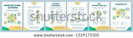 Babysitter course in quiet colours brochure template layout. Babysitting jobs. Flyer, booklet, leaflet print design with linear icons. Vector page layouts for magazines, annual reports, posters