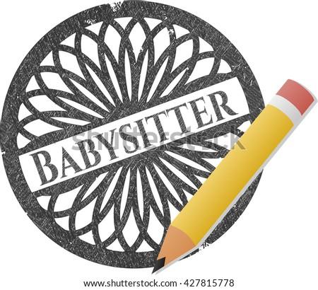 Babysitter emblem drawn in pencil