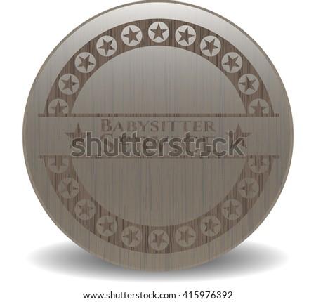 Babysitter Service realistic wooden emblem