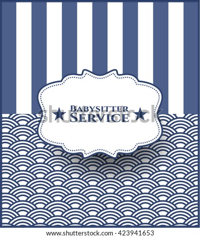 Babysitter Service retro style card or poster
