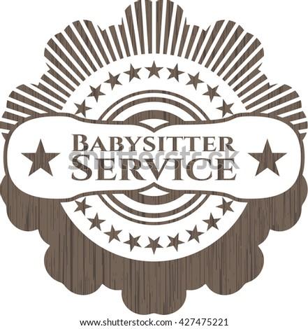 Babysitter Service retro style wooden emblem