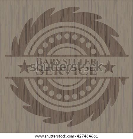 Babysitter Service retro wooden emblem