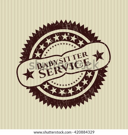 Babysitter Service rubber stamp with grunge texture