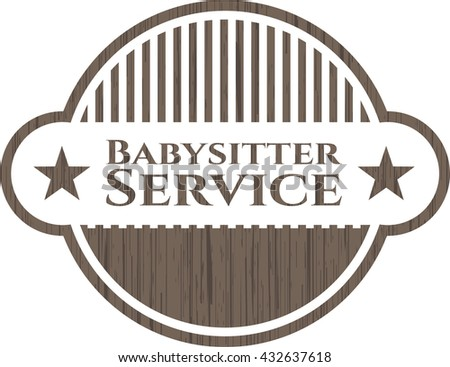 Babysitter Service wood icon or emblem