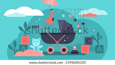 Babysitter vector illustration. Flat tiny children nursery persons concept. Newborn toddler care and nanny occupation. Educational profession work with infant toys, carriage and watching baby security