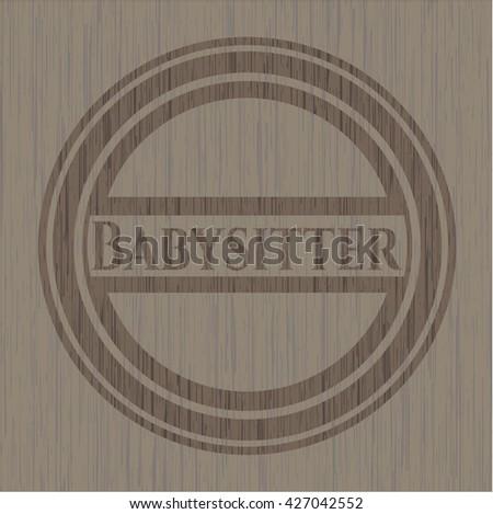 Babysitter wooden emblem. Vintage.