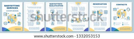 Babysitting support brochure template layout. Babysitter, nanny jobs. Flyer, booklet, leaflet print design with linear icons. Vector page layouts for magazines, annual reports, advertising posters