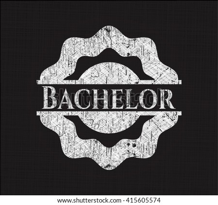 Bachelor chalk emblem, retro style, chalk or chalkboard texture