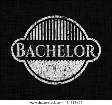 Bachelor chalkboard emblem on black board