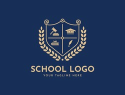 Bachelor hat, leaf, book, or crown icons. Vector golden wreath Logo Template. Beautiful badge design for high school education graduates in maritime science, law, study, university, or business.