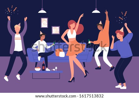 Bachelor man party at home vector illustration. Discotheque, soiree, holiday celebration, evening with friends. Strip show. Male party visitors with wine glasses, female stripper flat characters
