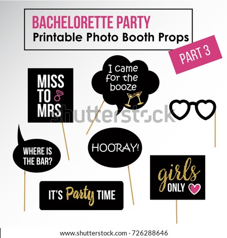 Bachelorette party, hen party, bridal shower printable photo booth props