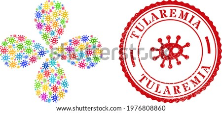 Bacilla colored rotation flower with four petals, and red round TULAREMIA textured stamp print. Bacilla symbol inside round stamp. Element burst combined from random bacilla symbols. Stock photo ©