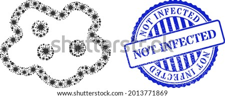 Bacilla mosaic amoeba icon, and grunge NOT INFECTED seal stamp. Amoeba mosaic for isolation images, and textured round blue seal imitation. Vector mosaic is made from randomized virus items. Stock photo ©