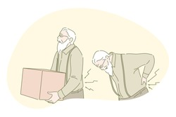 Back ache, back pain, rheumatism, osteoporosis concept. Senior mature man cartoon character carrying heavy box and suffering from strong back pain. Health, elderly people, illness, spine problems