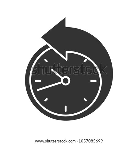 Back arrow around clock glyph icon. Counterclockwise. Reschedule. Silhouette symbol. Negative space. Vector isolated illustration