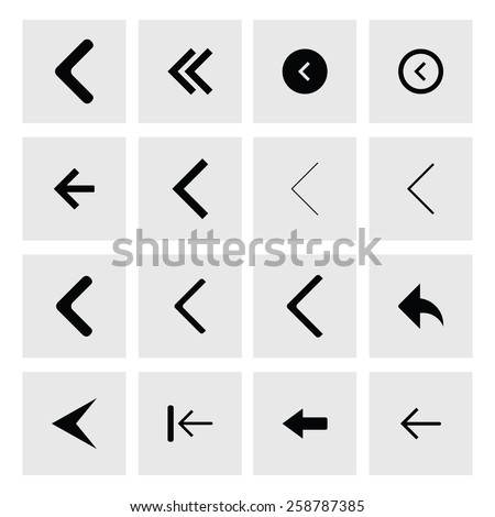 back arrow previous icon set. simple pictogram minimal, flat, solid, mono, monochrome, plain, contemporary style. Vector illustration web internet design elements #258787385