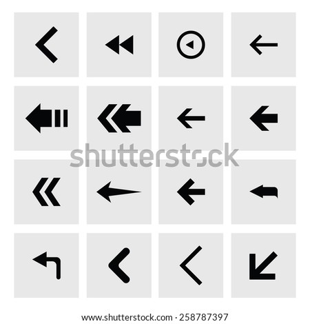 back arrow previous icon set. simple pictogram minimal, flat, solid, mono, monochrome, plain, contemporary style. Vector illustration web internet design elements #258787397