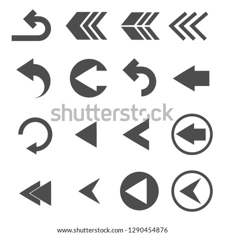 back arrow sign icons set vector #1290454876
