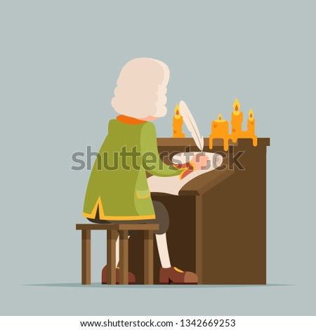 Back chronicler noble writer scribe playwright medieval aristocrat periwig pen music stand scroll candles cartoon mascot design vector illustration