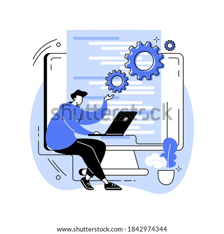 Back end development abstract concept vector illustration. Software development process, computer application, program code, programming language. Writing API and interface code abstract metaphor.