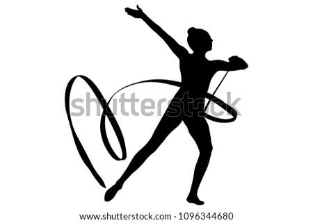 back girl gymnast ribbon exercise rhythmic gymnastics