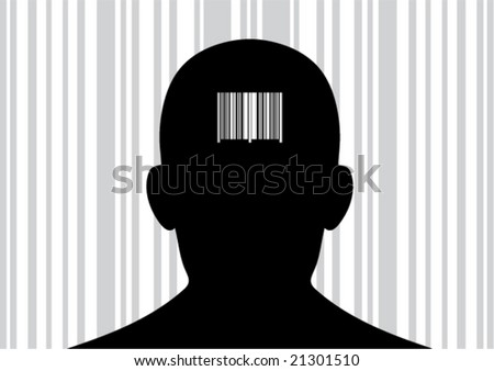Back of head with printed barcode on it. (Vector)