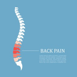 Back pain vector icon illustration isolated on blue background