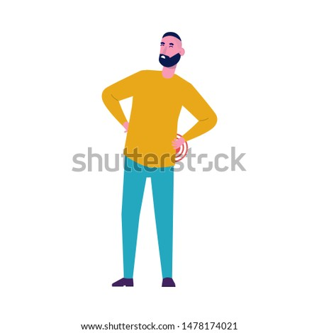 Back pain. Young man with backache problems. Flat style vector illustration.