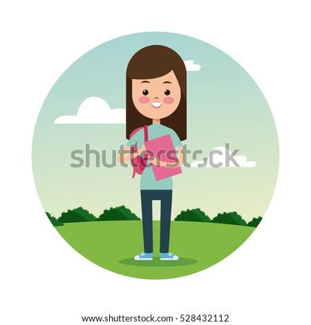 back school girl brunette