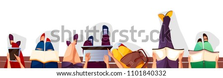 Back to college or school vector illustration of students sitting on bench and reading books. College boy and girl teens with school bags, smartphones and laptops on cartoon background top view