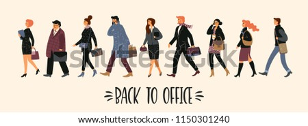 Back to office. Vectior illustration of people going to work.