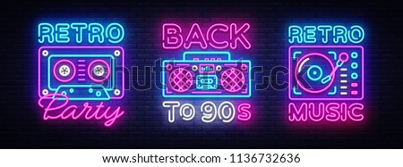 Back to 90s neon poster collection, card or invitation, design template. Retro tape recorder cassettes neon sign, gramophone symbol, light banner. Back to the 90s. Vector illustration