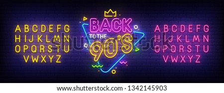 Back to 90's  neon sign, bright signboard, light banner. Back to 90s logo, emblem and label. Neon sign creator. Neon text edit